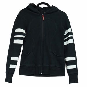 Lululemon size 10 Black sleeve stripe scuba hoodie